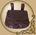 LARP Medieval Leather pouch, darkbrown cowhide